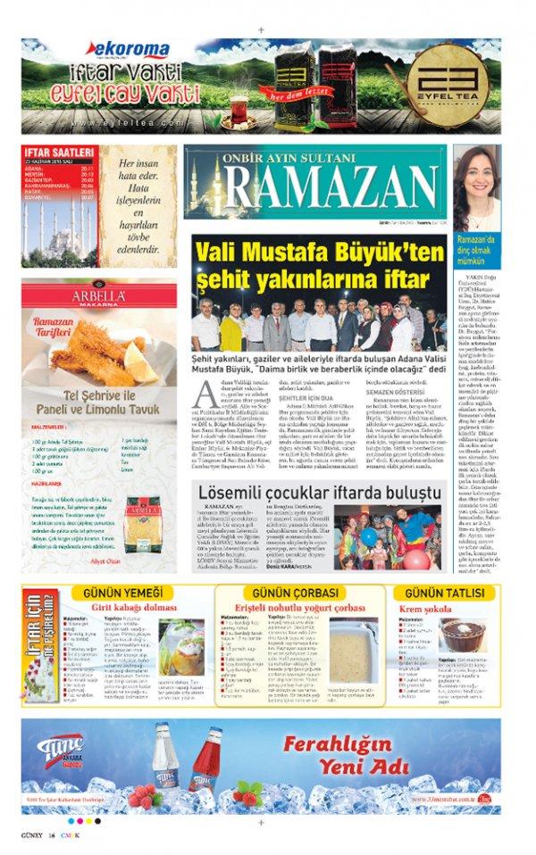 Sabah Gazetesi Ramazan Özel Sayfası Tunç Ankara Gazozu reklamı.
