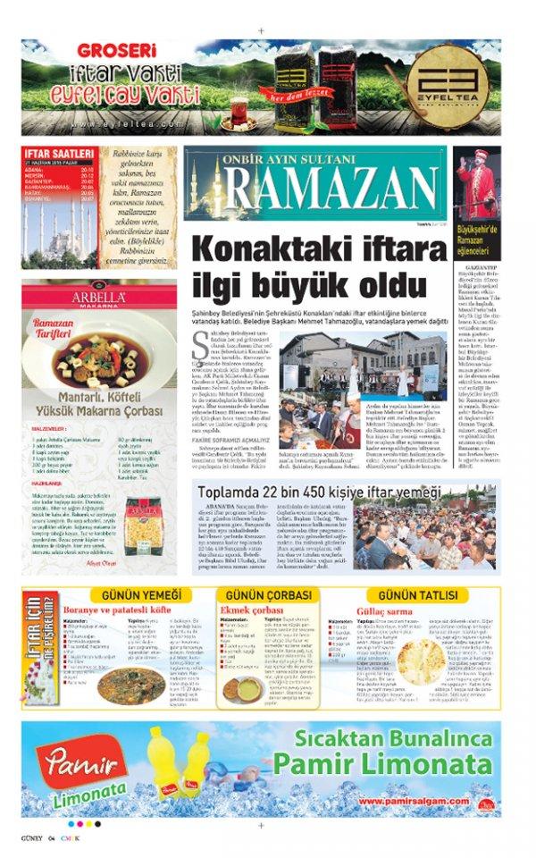 Sabah Gazetesi Ramazan Özel Sayfası Pamir Limonata reklamı.