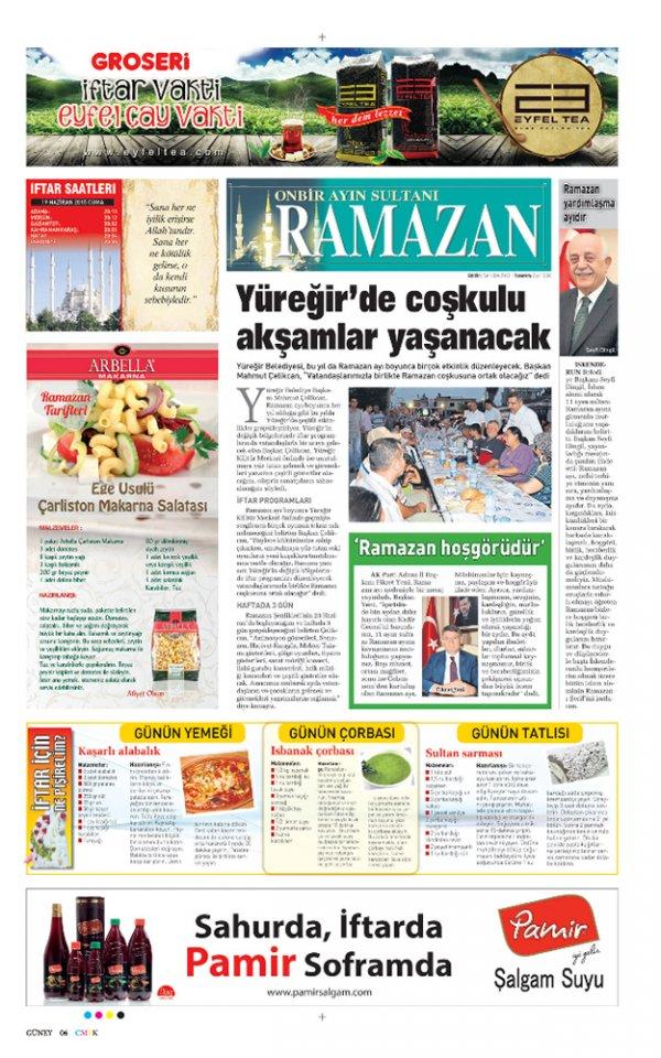 Sabah Gazetesi Ramazan Özel Sayfası Pamir Şalgam reklamı.